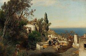 Oswald Achenbach: Italienische Küstenlandschaft bei Neapel