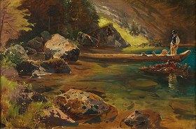 Julius Rollmann: Gebirgssee mit Mann auf Holzkahn