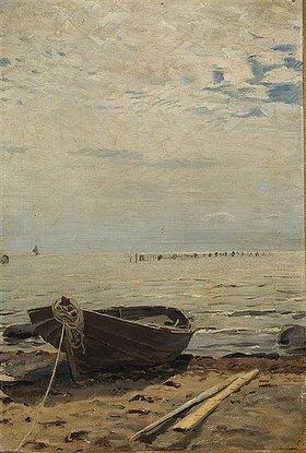 Eugen Dücker: Boot am Strand