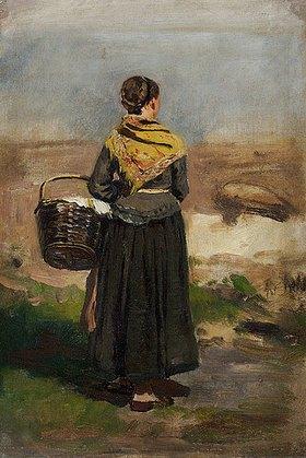 Eugen Dücker: Rückenfigur einer stehenden Frau in Landschaft (Studie). Vor
