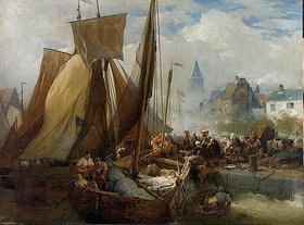 Andreas Achenbach: Der Fischmarkt in Ostende