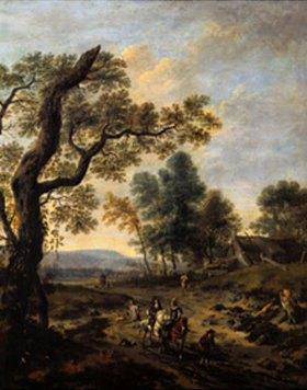 Jan Wijnants: Landschaft mit Jagdgesellschaft