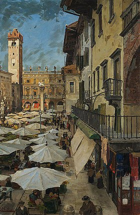 Theodor Groll: Markt in Verona