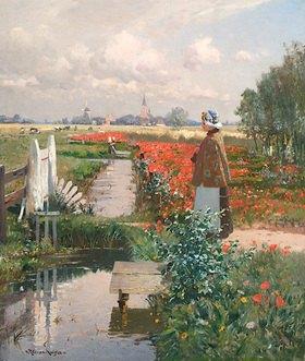 Heinrich Petersen-Angeln: Mohnfeld mit Mädchen am Kanal, strickend