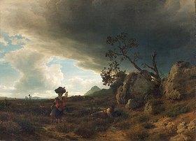Oswald Achenbach: Campagna ? Landschaft bei aufkommendem Gewitter