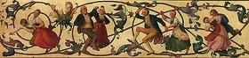 Adolf Schroedter: Arabeskenfries: Bauernkirmes, Tanz der Älteren. Nach Juli 1846 und vor Juni