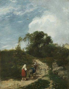 Hans Thoma: Landschaft mit Eseltreiberin