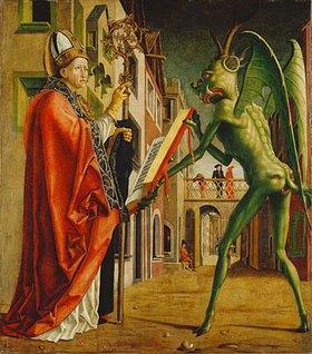Michael Pacher: Kirchenväteraltar. Rechter Flügel außen: Hl. Augustinus und der Teufel