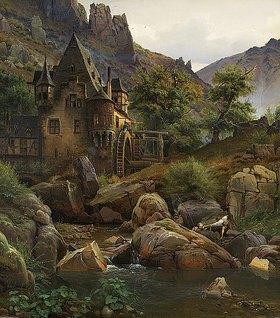 Eduard Wilhelm Pose: Landschaft mit Mühle im Morgenbachtal