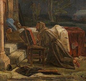 Alfred Rethel: Betender Mönch an der Bahre des gebannten Heinrich IV