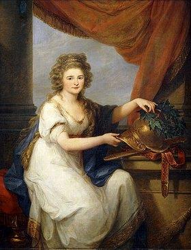 Angelika Kauffmann: Bildnis der Gräfin Catherine Skawronska, die einen Helm mit einem Kranz schmückt