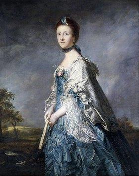 Sir Joshua Reynolds: Bildnis der Countess Winterton in einem blauen Kleid vor einer Landschaft