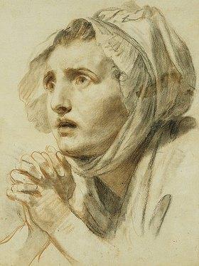 Jean Baptiste Greuze: Frau mit gefalteten Händen und angstvollem Blick