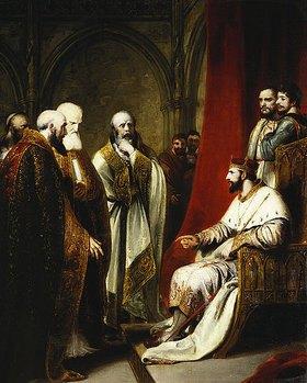 Richard Westall: Heinrich III mit dem Erzbischof von Canterburg und den Bischöfen
