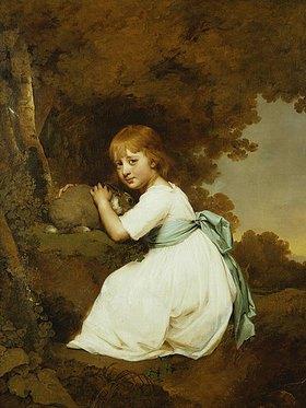 Joseph Wright of Derby: Miss Bentley mit einem Hasen vor einer Landschaft