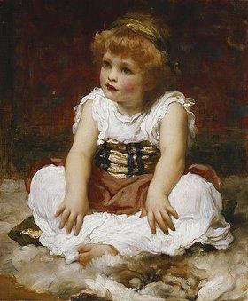 Frederic Leighton: Ein Mädchen im Schneidersitz auf einem Teppich