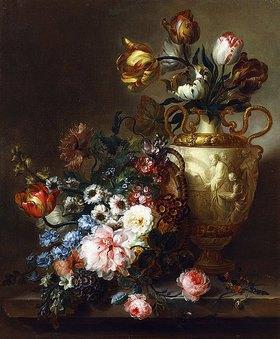 Ange Louis Guillaume Lesourd-Beauregard: Tulpenstrauß in einer Vase und andere Blumen