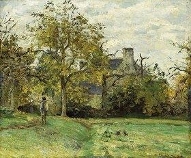 Camille Pissarro: Ludovic Piettes Haus in Montfoucault. 1874 (Die Farm gehörte Pissarros Freund Ludovic Piette und lag in der Nähe des Dorfes Foucault.)