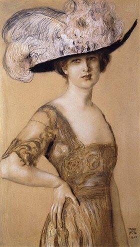 Franz von Stuck: Portrait einer Dame mit Federhut