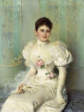 Vittorio Matteo Corcos: Portrait einer Dame in einem weißen Kleid