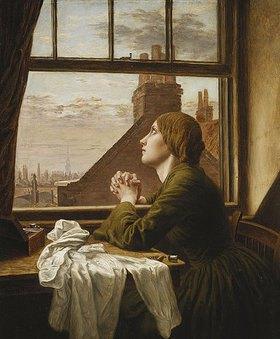 Anna Elizabeth Blunden: Das Lied vom Hemde (The Song of the Shirt). 1854 (Das Gemälde zeigt eine ausgebeutete Näherin, ein gängiges Thema in der viktorianischen, realistischen Malerei. Es bezieht sich auf das Gedicht von Thomas Hood, das 1843 in der satirischen Zeitschrift Punch veröffentlicht wurde.)