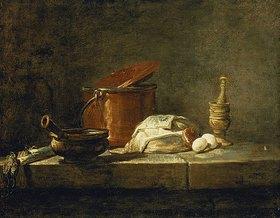 Jean-Baptiste Siméon Chardin: Stillleben mit Kupferkessel, einem Mörser und Gemüse