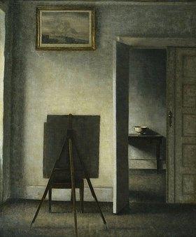 Vilhelm Hammershoi: Interieur mit Staffelei. (Das Gemälde zeigt zwei Räume der Wohnung in der Bredgade 25 in Kopenhagen.)