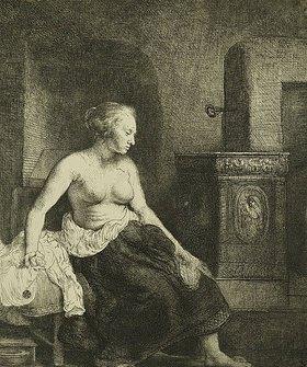 Rembrandt van Rijn: Sitzende Frau an einem Ofen