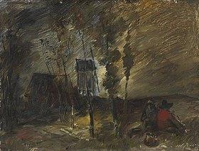 Wilhelm Busch: Stürmische Herbstlandschaft mit Windmühle