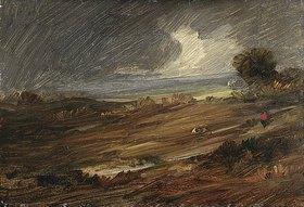 Wilhelm Busch: Regenlandschaft mit einem einsamen Wanderer