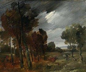 Wilhelm Busch: Trüber Tag - Landschaft mit Kühen