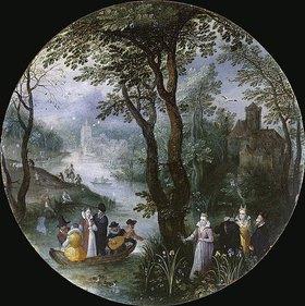 Jan Brueghel d.Ä.: Flusslandschaft mit vornehmer Gesellschaft im Boot (Allegorie des Frühlings)