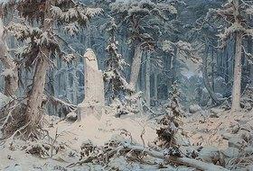 Andreas Achenbach: Verschneiter Wald (oder: Runenstein)