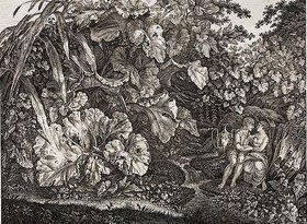 Carl Wilhelm der Ältere Kolbe: Liebespaar in einer Grotte, umgeben von Pflanzen und Kräutern