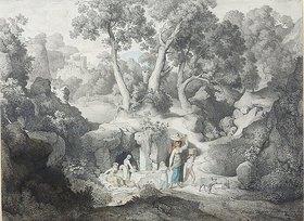 Karl Heinrich Dreber: Heroische Landschaft mit Landleuten beim Brunnen