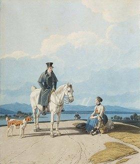 Wilhelm von Kobell: Alpenlandschaft mit Reiter und Bäuerin