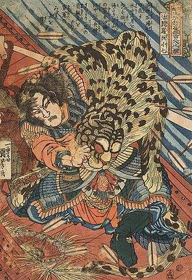 Utagawa Kuniyoshi: Katsuenra Genshoshichi in einem Boot (Blatt 31 aus der Serie Ein jeder der 108 Räuber vom Liang-Schan-Moor)