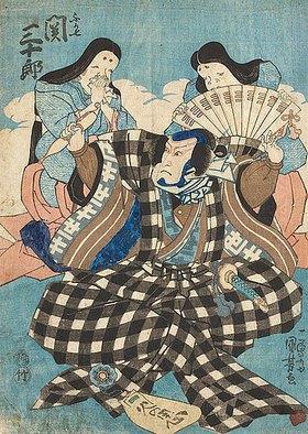 Utagawa Kuniyoshi: Bühnenszene aus einem Kabuki-Schauspiel mit Seki Sanjuro und zwei Frauendarstellern