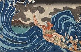 Utagawa Kuniyoshi: Auf dem Weg nach Sado erscheint der Name des Heiligen Buches (Aus der Serie Die wichtigsten Bilder aus der Vita des Großen Patriarchen). Um 1834