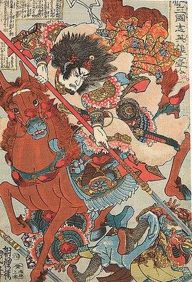 Utagawa Kuniyoshi: Hosen Ryofu. Aus der Serie Die einzelnen Helden aus der Geschichte der Drei Reiche