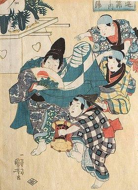 Utagawa Kuniyoshi: Das Doppelneunfest vom neunten Tag des neunten Monats (Oktober) (Aus der Serie Kinderspiele der fünf Feste)