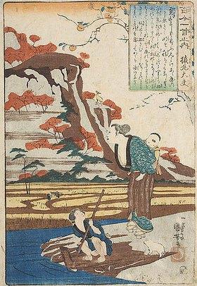 Utagawa Kuniyoshi: Sarumarus Herbstgedicht Tief im Gebirge sowie eine häusliche Szene (Gedicht 5 aus der Serie Die 100 Gedichte und ihre Dichter)