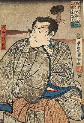 Utagawa Kuniyoshi: Yoshitsune, dem nächtlichen Angriff auf Schloss Horikawa entkommen (Aus dem Kabuki-Schauspiel Nachtangriff auf Burg Horikawa)