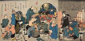 Utagawa Kuniyoshi: Der Mönch Ikkyu predigt über die Höllenqualen der Reichen