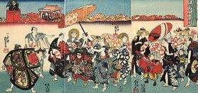 Utagawa Kuniyoshi: Umzug der Gesellen aus dem Blaublütenstudio des wackeren Kuniyoshi