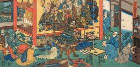 Utagawa Kuniyoshi: Die Schlacht von Hyogo (Aus der Serie Die Annalen vom Großen Frieden)