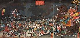 Utagawa Kuniyoshi: Der Feldherr Amakasu Ominokami Kagetoki schlägt die Truppen von Fürst Uesugi Kenshin in die Flucht (Aus der Serie Die Schlachten von Kawanakajima [1553-1563])