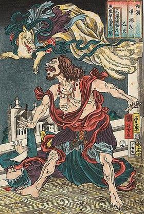 Utagawa Kuniyoshi: Die neunschwänzige Füchsin Madame Kayo bedrängt den siamesischen Prinzen Hanzoku (Aus der Serie Imaginierte schauspielerische Darstellungen aus Japan und China zu den Kapiteln des Genji-Romans)