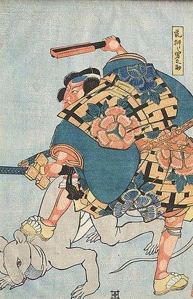 Utagawa Kuniyoshi: Danjuro VIII. als Otokonosuke (Fünfter Akt aus dem Kabuki-Schauspiel Die Ränke um die Erbfolge der Date von Sendai)