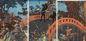 Utagawa Kuniyoshi: Chohi hält die Brücke von Chohan (Nach dem Roman Die Geschichte der Drei Reiche)